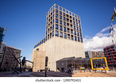 Cape Town, South Africa, 12th April - 2019: Exterior of contemporary art building. The building was converted out of old grain silos.