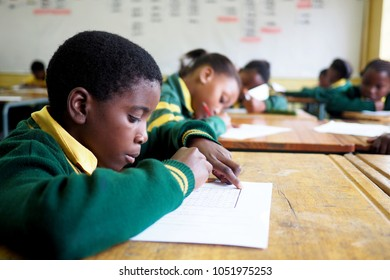 Cape Town, South Africa - 20 March 2018 : Young boy in an underprivileged school in South Africa