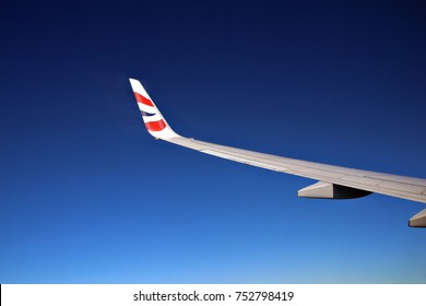 CAPE TOWN, SOUTH AFRICA - 28 JULY 2017: A British Airways airliner flies over Cape Town. BA was created in 1974 after a British Airways Board was established by the British government. Editorial.