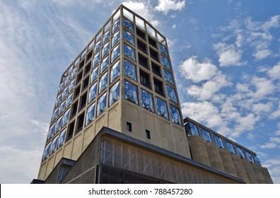 CAPE TOWN, SOUTH AFRICA -28 OCT 2017- View of the Zeitz Museum of Contemporary Art Africa (MOCAA) located in  in a reincarnated grain silo in Cape Town, South Africa.