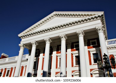 CAPE TOWN, SOUTH AFRICA - 30 MARCH 2018: Outside facade of the South African Houses of Parliament. The building consists of three main sections, with the original building completed in 1884. Editorial