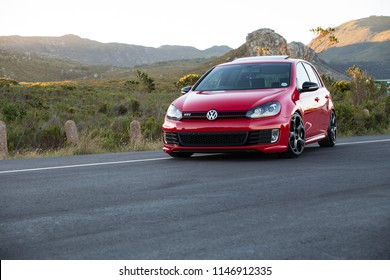 CAPE TOWN, SOUTH AFRICA. 30 December 2013. VW Golf Gti 6 at a mountain pass.
