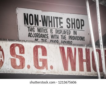 Cape Town, South Africa - 30/09/2015: an old racist sign For use by non-white persons used during the Apartheid era