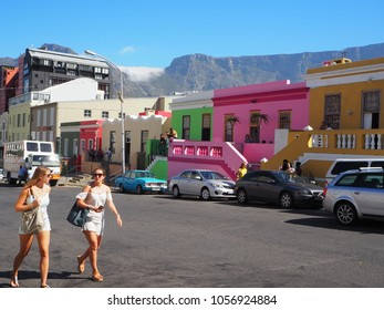 Cape Town, South Africa, 4 January, 2018. View with Table Mountain in Bo-Kaap Area, Cape Town, South Africa on 4 January, 2018.