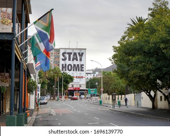 Cape Town, South Africa - 6 April 2020 : Empty streets and stay home sign in Cape Town during the Coronavirus lockdown