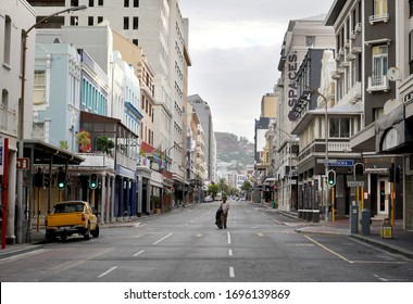 Cape Town, South Africa - 6 April 2020 : Empty streets and homeless man in Cape Town during the Coronavirus lockdown