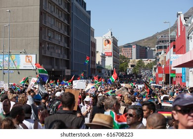 CAPE TOWN, SOUTH AFRICA. 7 APRIL 2017. Protesters march to parliament in protest at President Jacob Zuma.