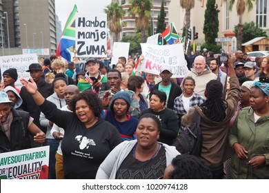 Cape Town, South Africa - 8 April 2017 : Protesters gather in the streets of Cape Town, calling for the resignation of President Jacob Zuma.