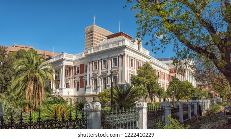 CAPE TOWN, SOUTH AFRICA, AUGUST 17, 2018: The parliament buildings in Cape Town. Palm trees are visible