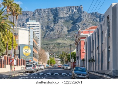 CAPE TOWN, SOUTH AFRICA, AUGUST 17, 2018: A view of Hope Street in Cape Town. Vehicles, Table Mountain and the upper cable station are visible
