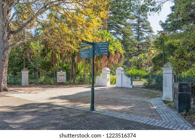 CAPE TOWN, SOUTH AFRICA, AUGUST 17, 2018: A signpost at the Tuynhuys entrance to the Company Gardens in Cape Town