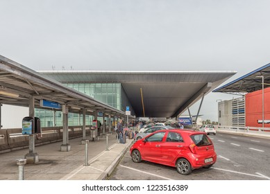 CAPE TOWN, SOUTH AFRICA, AUGUST 19, 2018: The drop-off area at the Cape Town International Airport in Cape Town