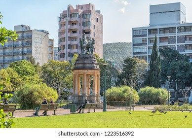 CAPE TOWN, SOUTH AFRICA, AUGUST 17, 2018: The Delville Wood Memorial in the Company Gardens in Cape Town. People are visible
