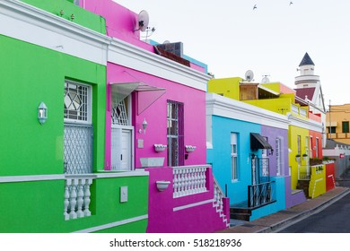 "CAPE TOWN, SOUTH AFRICA - AUGUST 15, 2016: The self-catering accommodation ""Green House"" is set among colorful18th century houses in the historic Muslim neighborhood of Bo-Kaap, or the Malay Quarter"