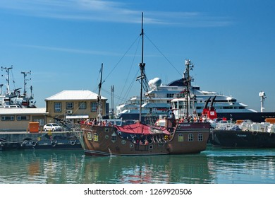 CAPE TOWN, SOUTH AFRICA - CIRCA OCTOBER 2018: Tourist pirate ship in the harbor at the V&A Waterfront