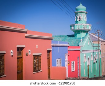 Cape Town, South Africa - CIRCA December 2016. Colored hoses in Bo -Kaap district.