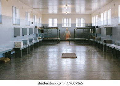 CAPE TOWN, SOUTH AFRICA - CIRCA OCTOBER 2017: A common cell in the prison on Robben Island, where Nelson Mandela was imprisoned, now  a UNESCO World Heritage Site
