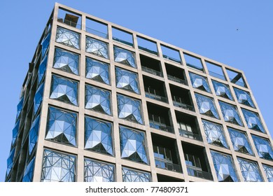 CAPE TOWN, SOUTH AFRICA - CIRCA OCTOBER 2017: The pillowed glass glazing panels in the facade of the Zeitz Museum of Contemporary Art Africa in Cape Town