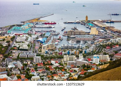 Cape Town, South Africa, December 07, 2011, Elevated view of the V&A Waterfront in Cape Town harbor