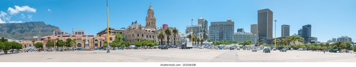 CAPE TOWN, SOUTH AFRICA - DECEMBER 2014: Panorama of the city center and city hall. On February 11, 1990, Nelson Mandela made his first public speech after his release from the balcony of city hall