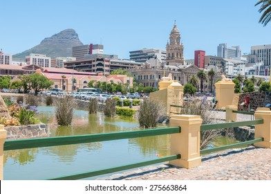 CAPE TOWN, SOUTH AFRICA - DECEMBER 18, 2014:  Moat of the Castle of Good Hope with the central business district and Lions Head in the back