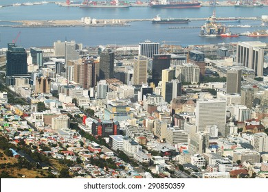CAPE TOWN, SOUTH AFRICA - DECEMBER 7: Bo kaap neighborhood, harbour and business district of Cape Town City from Table mountain on december 7, 2014 in Cape Town, South Africa