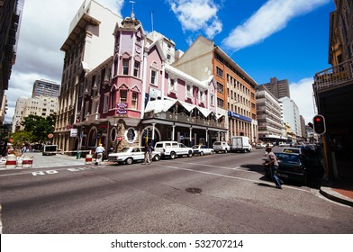 CAPE TOWN, SOUTH AFRICA - FEb. 03:  colonial buildings populate long street in  the center on 03 february,2010 in Cape Town, South Africa. These buildings are the heritage of british domination.