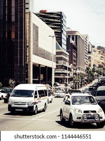 Cape Town, South Africa, February 9, 2018: Busy street with traffic in downtown Cape Town, South Africa