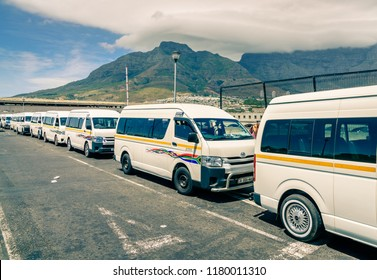 Cape Town, South Africa, February 9, 2018: Taxi fleet at a taxi terminal in Cape Town, South Africa