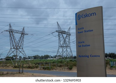Cape Town, South Africa - February 26, 2019: the country's government owned power utility Eskom is on the verge of collapse due to massive corruption and graft image in landscape format