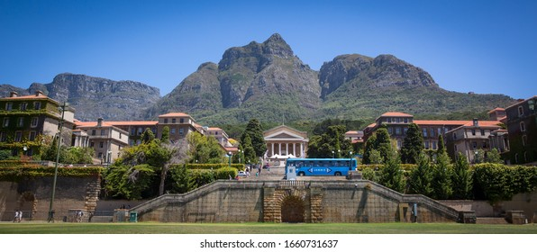 Cape Town/ South Africa - February 11 2020: Open day at UCT university of Cape Town looking up on middle campus with mountain in the background.