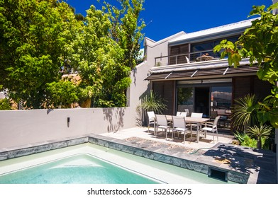 CAPE TOWN, SOUTH AFRICA - JAN.26:  Swimming pool of a villa in the exclusive seaside resort on 26th january 2010, cape town , south africa.