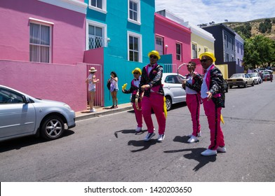 CAPE TOWN, SOUTH AFRICA - JANUARY 2, 2019:  The Kaapse Klopse. A look into the colorful, cultural Cape Town Minstrel Carnival starting in Bo Kaap.