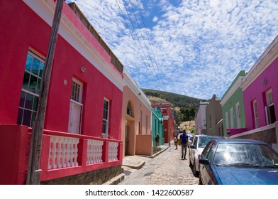 CAPE TOWN, SOUTH AFRICA - JANUARY 2, 2019: Colorful and bright houses of Bo-Kaap, Cape Town.