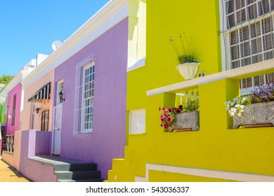 Cape Town, South Africa - January 11, 2014: close up of colorful houses of Bo-Kaap, famous Malay Quarter is the Muslim Malay village. Bo-Kaap is the most colorful neighborhoods in Cape Town