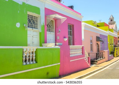 Cape Town, South Africa - January 11, 2014: The colorful houses of Bo-Kaap, Malay Quarter is the Muslim Malay village, popular landmark in Cape Town.