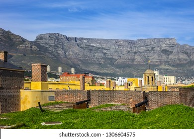 CAPE TOWN, SOUTH AFRICA - JULY 21, 2018: Castle of Good Hope or Cape Town Castle (Kasteel die Goeie Hoop) - bastion fort built in the XVII century in Cape Town. Courtyard of Castle of Good Hope.