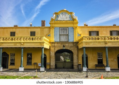 CAPE TOWN, SOUTH AFRICA - JULY 21, 2018: Castle of Good Hope or Cape Town Castle. Castle is oldest surviving building in South Africa and has been center of civilian, political and military life.