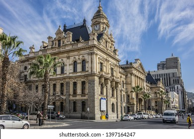 CAPE TOWN, SOUTH AFRICA - JULY 20, 2018: Darling Street with Cape Town City Hall building. City Hall - imposing Italian Renaissance style Edwardian building constructed from honey limestone in 1900.