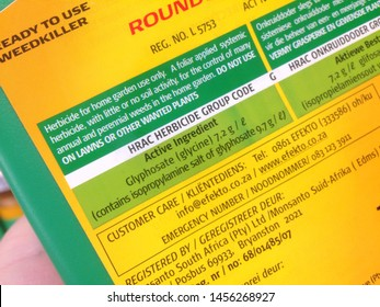 Cape Town, South Africa - July 20, 2019: View of product details of the weed killer RoundUp, which contains the strong herbicide glyphosate.