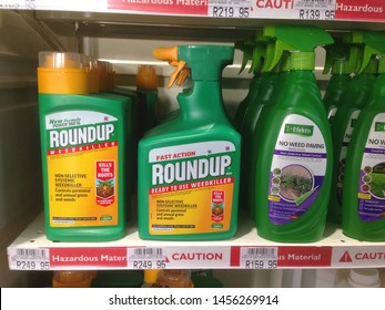 Cape Town, South Africa - July 20, 2019: A hardware store sells the weed killer RoundUp, which contains the strong herbicide glyphosate, made by Monsanto Company.