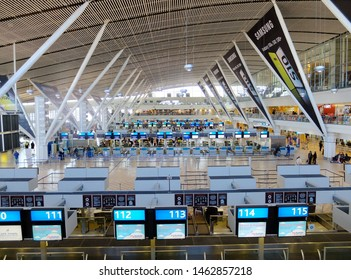 Cape Town, South Africa - July 27, 2019: Aerial view of the check in hall for departure at Cape Town International Airport (CPT), one of the largest airports in Africa (opened in 1954).