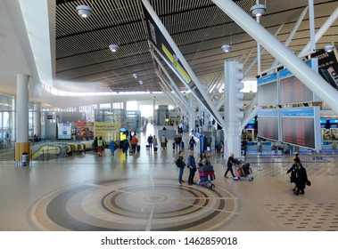 Cape Town, South Africa - July 27, 2019: View of the check in hall for departure at Cape Town International Airport (CPT), one of the largest airports in Africa (opened in 1954).