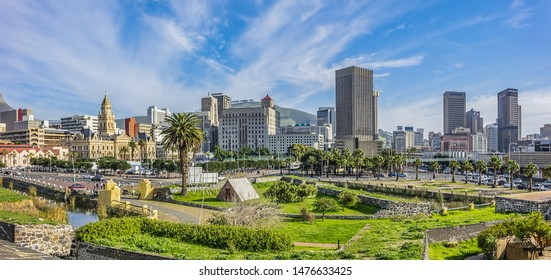 CAPE TOWN, SOUTH AFRICA - JULY 20, 2018: View of Cape Town Grand Parade - main city public square. Grand Parade surrounded by Cape Town City Hall, Castle of Good Hope, and Cape Town railway station.