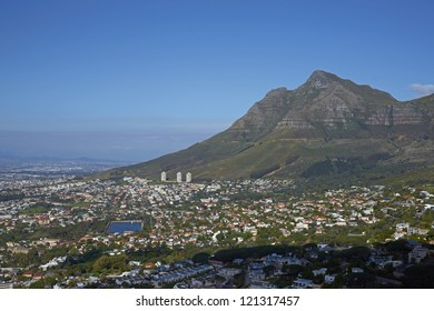 Cape Town in South Africa. Large city nestling beneath Table Mountain.