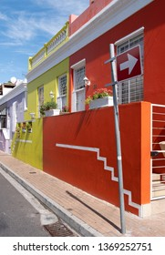 Cape Town, South Africa. March 2019. Houses in the Malay Quarter, Bo-Kaap. Historical area of brightly painted houses in the city centre blonging mainly to the Moslem population.