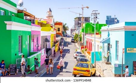 Cape Town, South Africa- March 6, 2019: Colorful houses in Bo-Kaap Cape Town, South Africa.