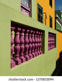 Cape Town, South Africa. March 2019. Houses in the Malay Quarter, Bo Kaap, Cape Town, South Africa. Historical area of brightly painted houses in the city centre occupied by the Moslem community.