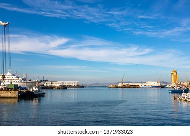 Cape town, South Africa- March 13, 2019: Cape Town harbor, Victoria and Alfred Waterfront at sunset , South Africa