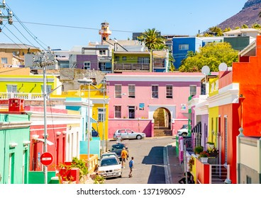 Cape Town, South Africa- March 6, 2019:  Colorful houses in Bo-Kaap, Malay Quarter, Cape Town